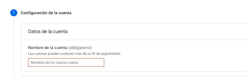 nombre cuenta google analytics