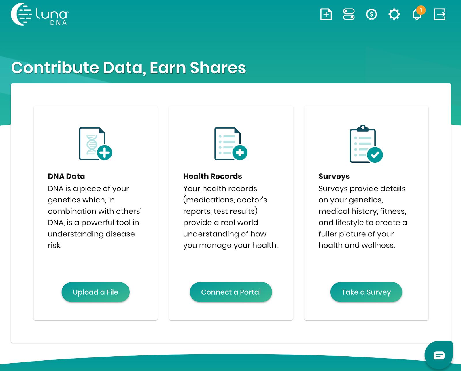 共有を獲得するためのデータ共有オプション。