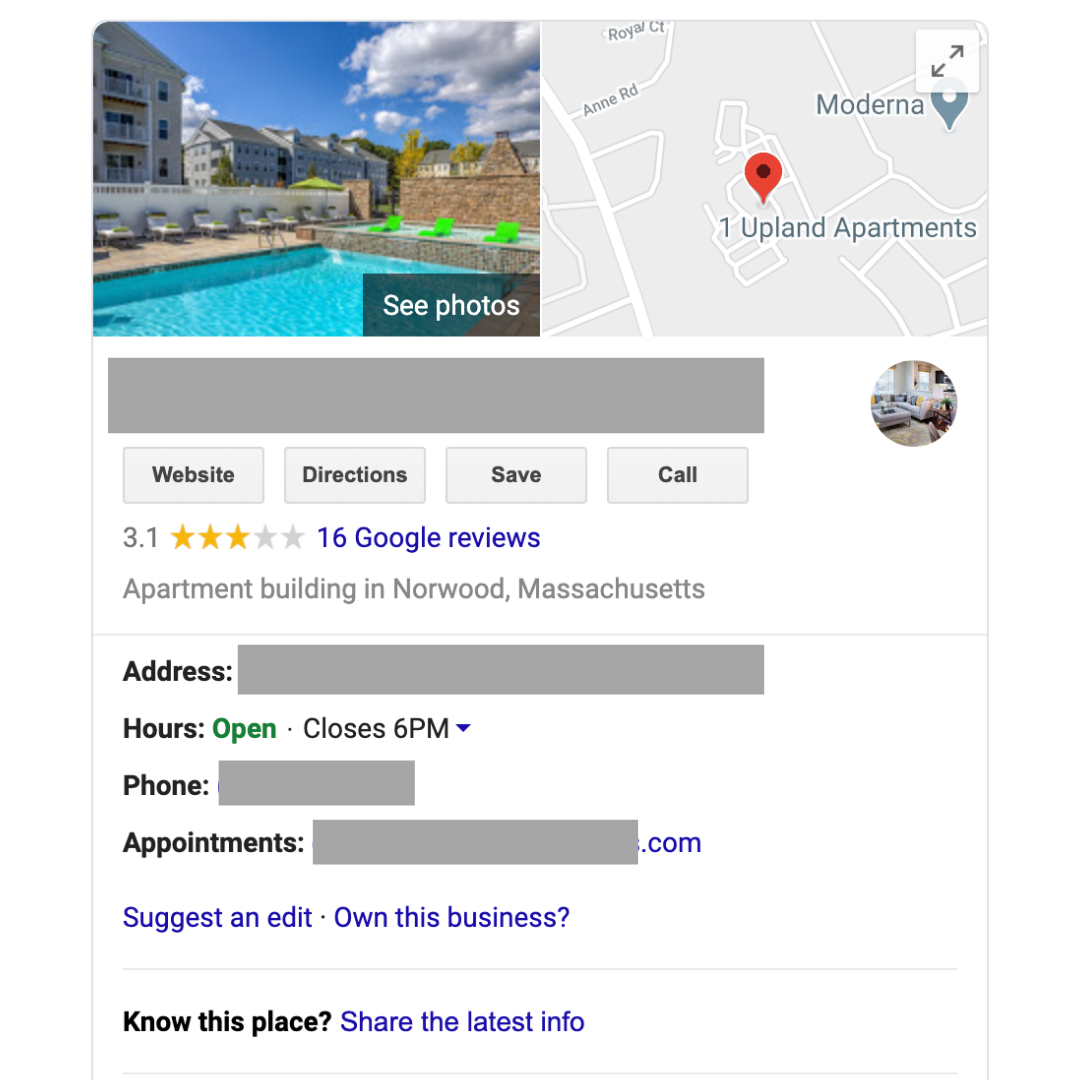 Google My Business Example | 5 Top Ranking Factors for Apartment Local SEO
