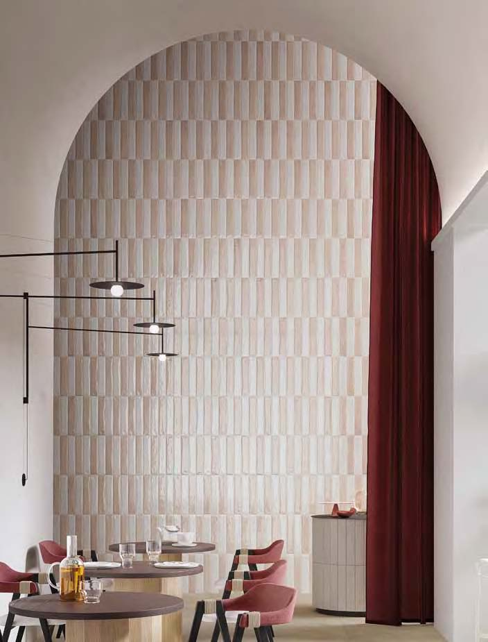 3D wall tile in pink and white