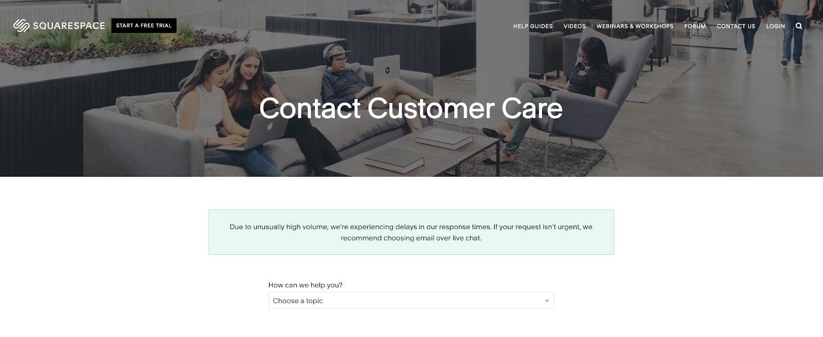 Screenshot of Squarespace contact page