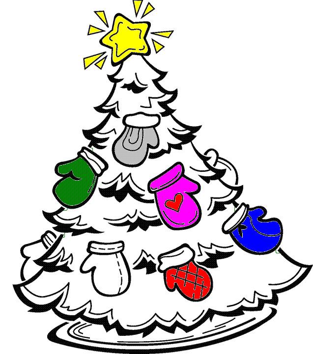 Image result for Black and White Hat & Mitten Christmas Tree clip art