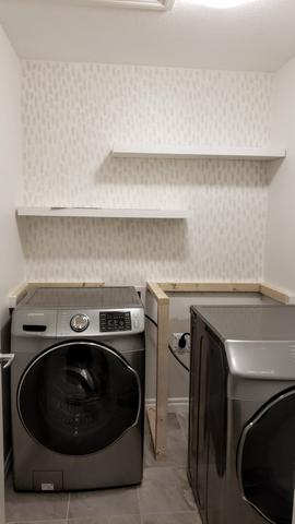 Laundry Room Renovation, Hand Painted Wallpaper