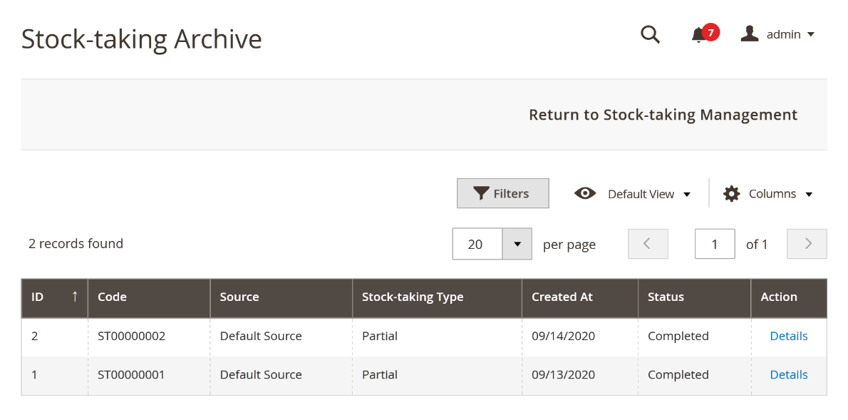 Stocktake archive in Magento backend