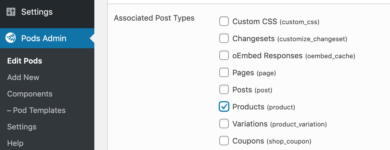 This time, instead of checking Posts (post), you'll now check Products (product)