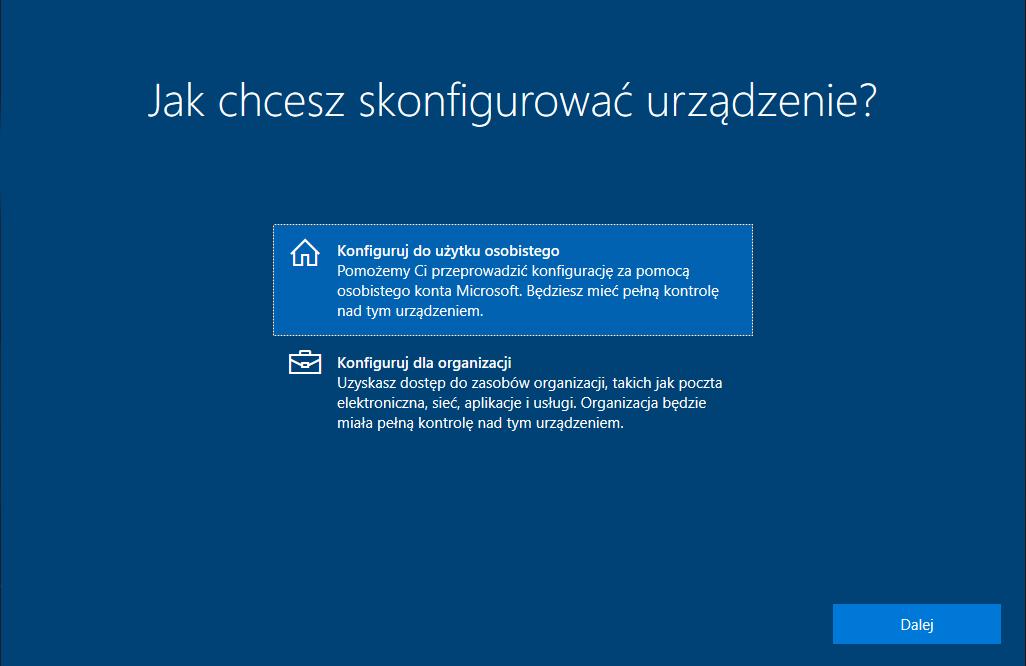 konfiguracja windows 10