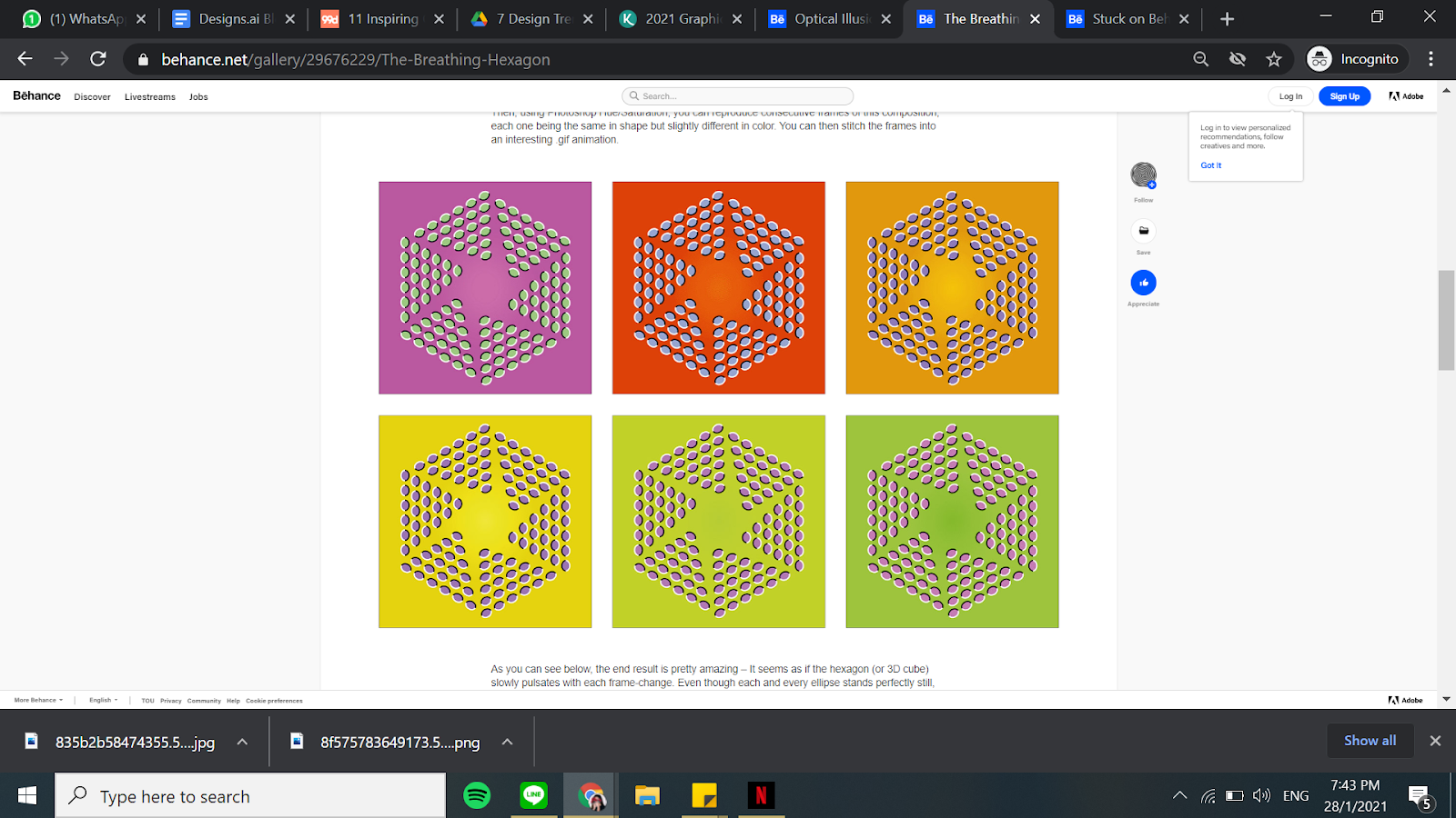 The Breathing Hexagon designs using optical illusion.