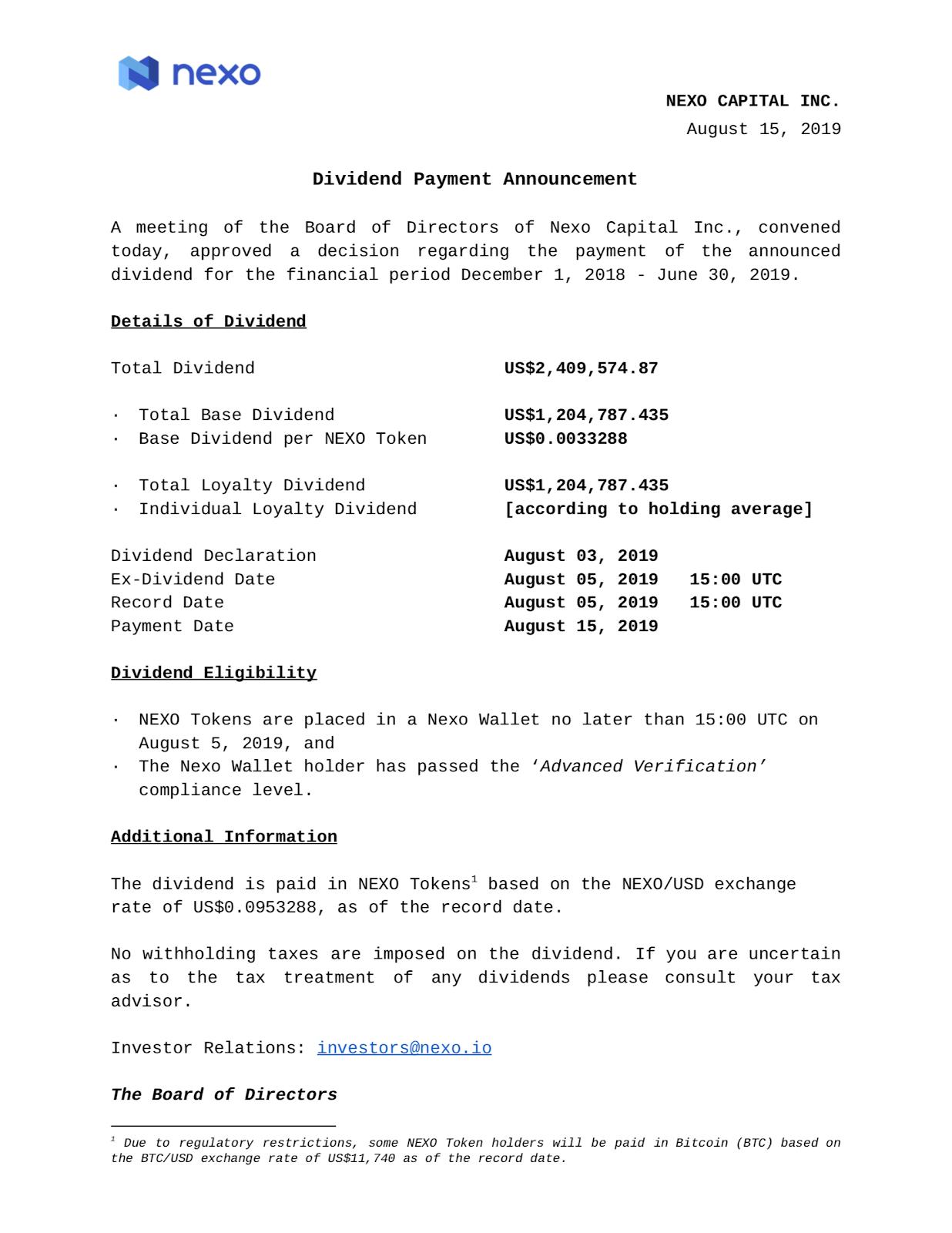 nexo dividend payment
