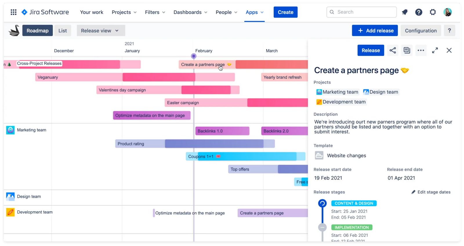 Swanly project management for Jira - report panel from right