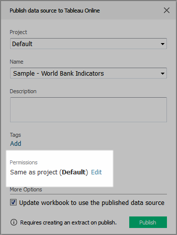 As content owner, you can set permissions when you publish