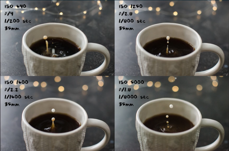 Shutter speed chart showing experiments in freezing fast-paced action using a fast shutter speed.