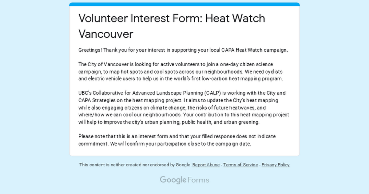 Volunteer Interest Form: Heat Watch Vancouver