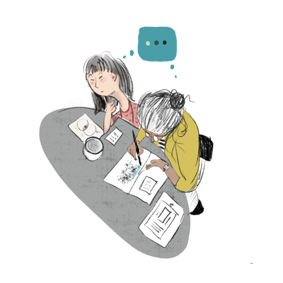 Illustration of two people working together at a desk, connected by a thought bubble.