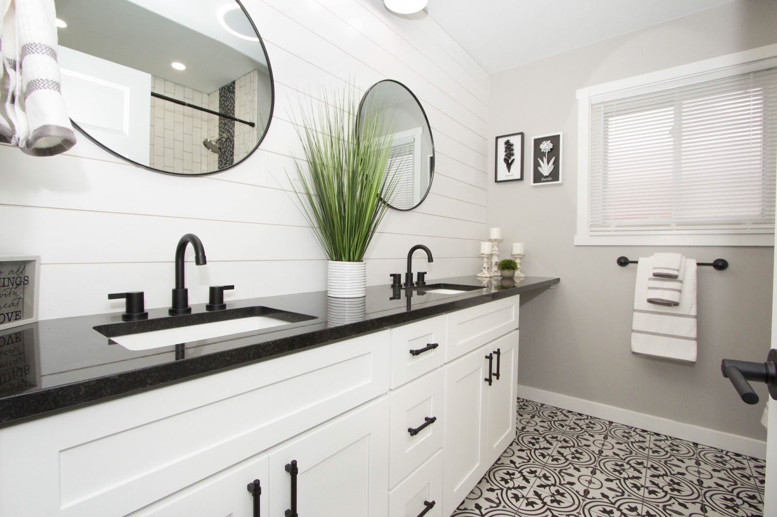 Lily Ann Cabinets shiplap bathroom design with white shaker cabinets