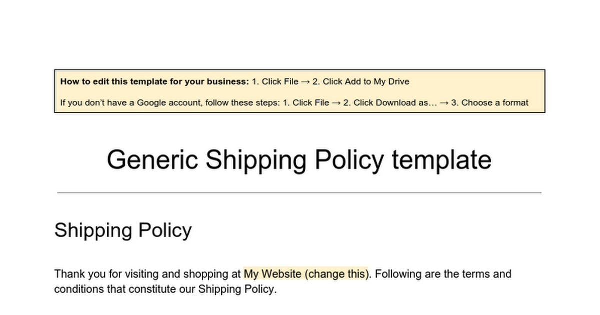 generic shipping policy template google docs
