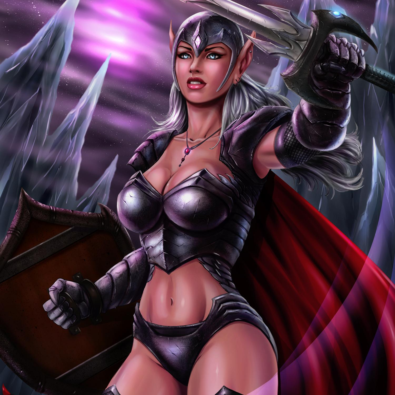 female with sword