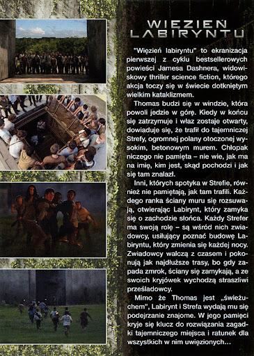 Tył ulotki filmu 'Więzień Labiryntu'