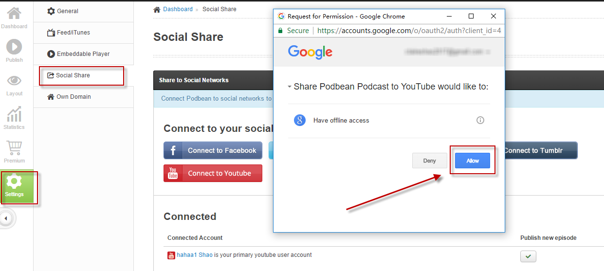 Allow Social Share to Youtube