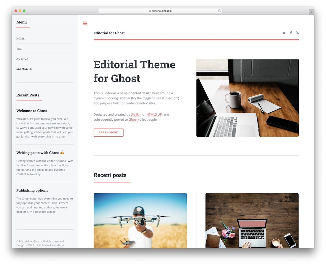 store for free Ghost themes for your website