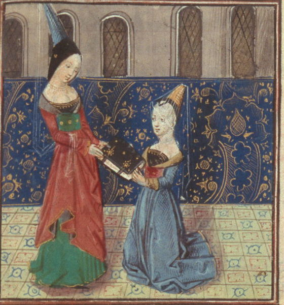 Painting of Christine de Pizan presenting her book.