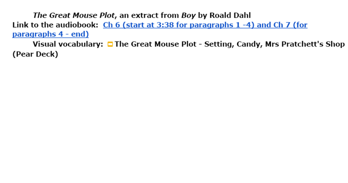 the great mouse plot from boy Classroom teacher ideas  boy - the great mouse plot.