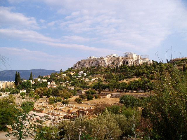The area around Acropolis in Athens, Greece