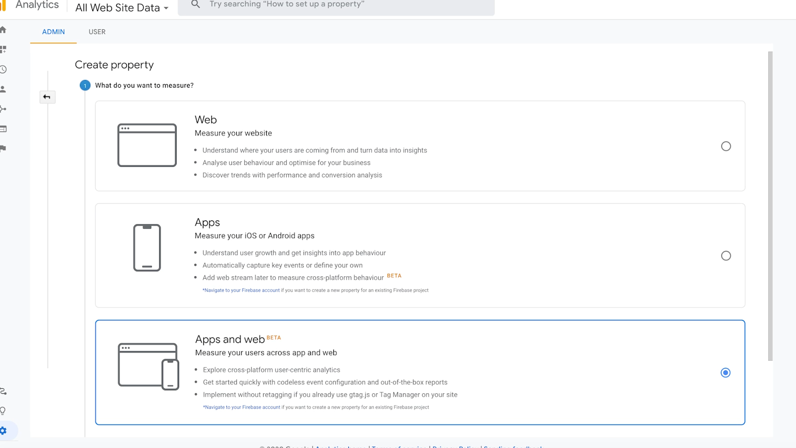New property Apps and web feature in Google Analytics