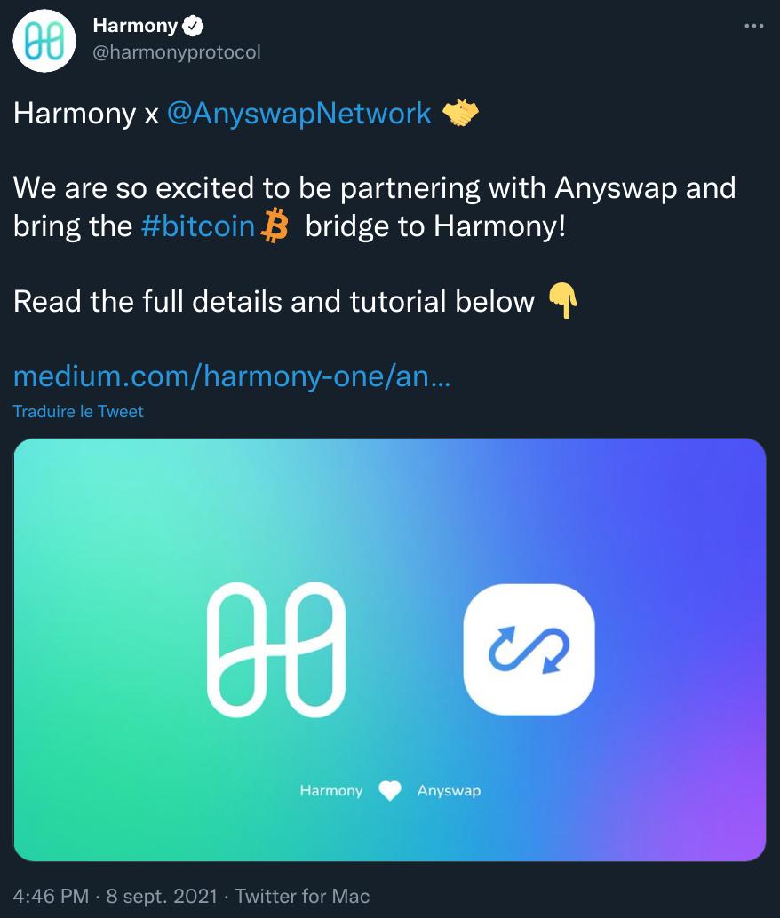 Publication Twitter de Publication de Harmony annonçant son partenariat avec Anyswap