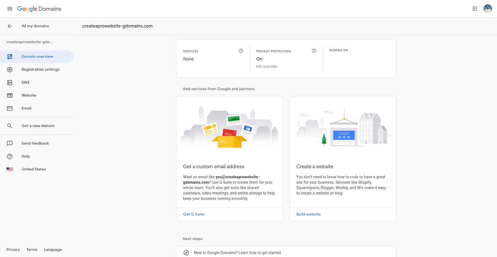 google domains hosting portal