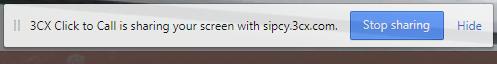 Mit dem 3CX WebMeeting lässt sich der Status der Bildschirmfreigabe einsehen und diese beenden.