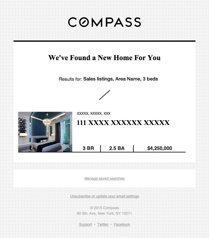 "Compass ""we've found a new home for you"" email sample"