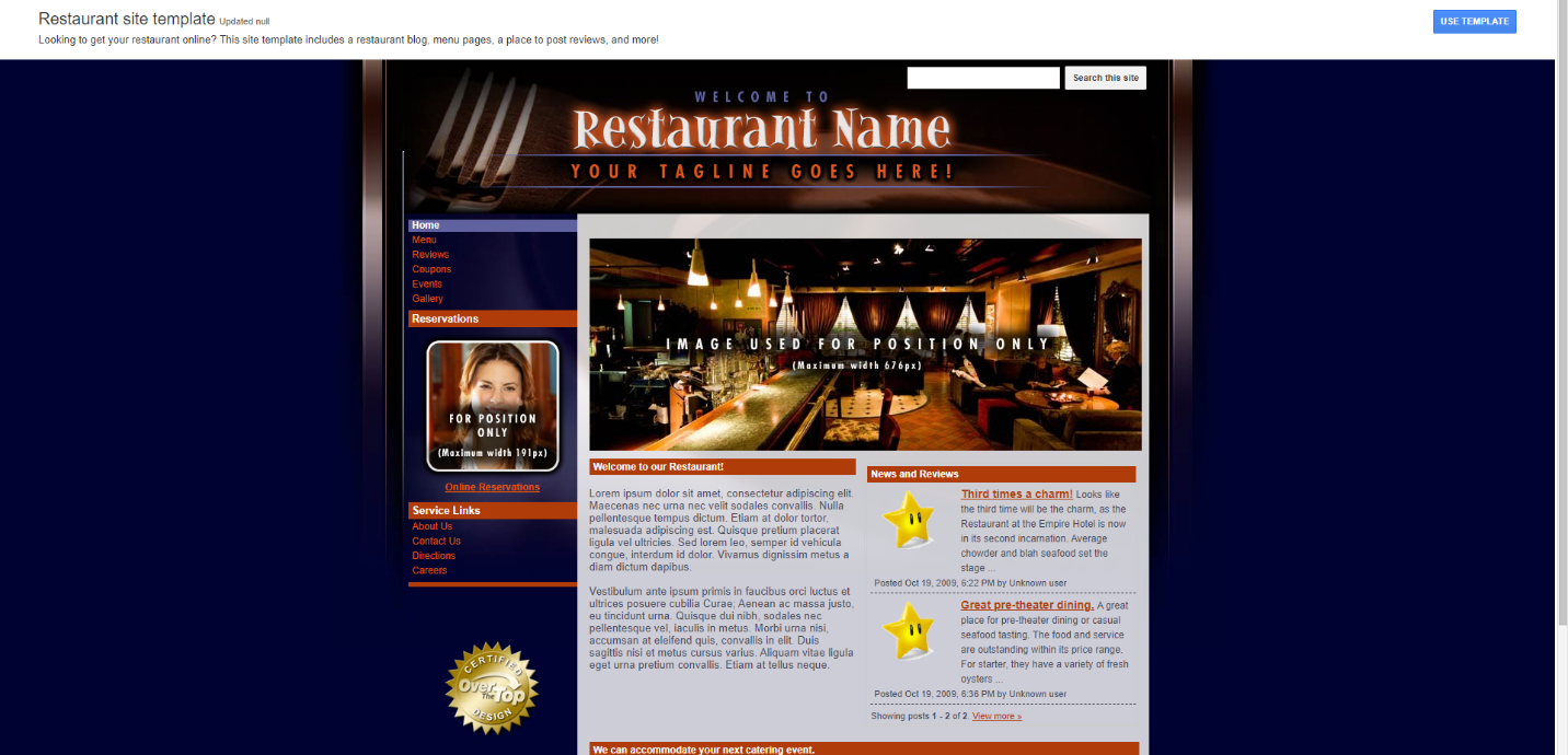 mẫu trang web google mẫu nhà hàng tốt nhất