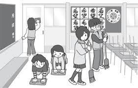 「学校掃除 イラスト 白黒」の画像検索結果