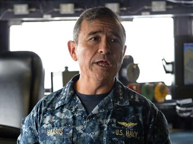 Chỉ huy Bộ Tư lệnh Thái Bình Dương, đô đốc Harry Harris khẳng định Mỹ sẽ không để Trung Quốc tiếp tục hoạt động xây đảo nhân tạo trái phép ở Biển Đông /// Reuters