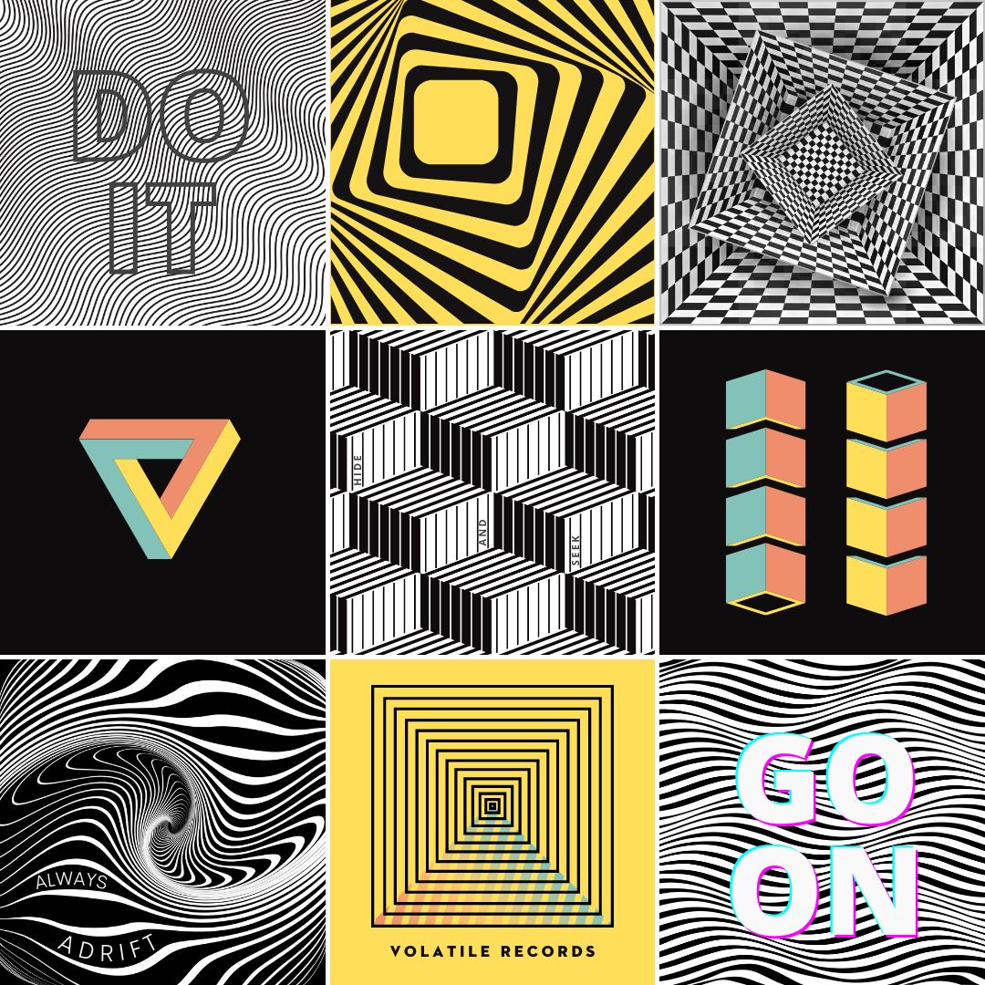 Graphic designs using optical illusion.