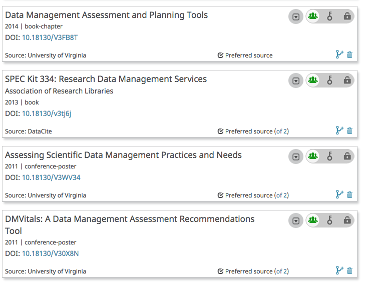 "Screenshot shows an ORCID record with several works listed. The source of each work is ""University of Virginia"""
