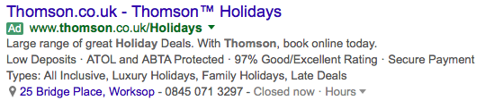Structured Snippet Examples for holiday ads