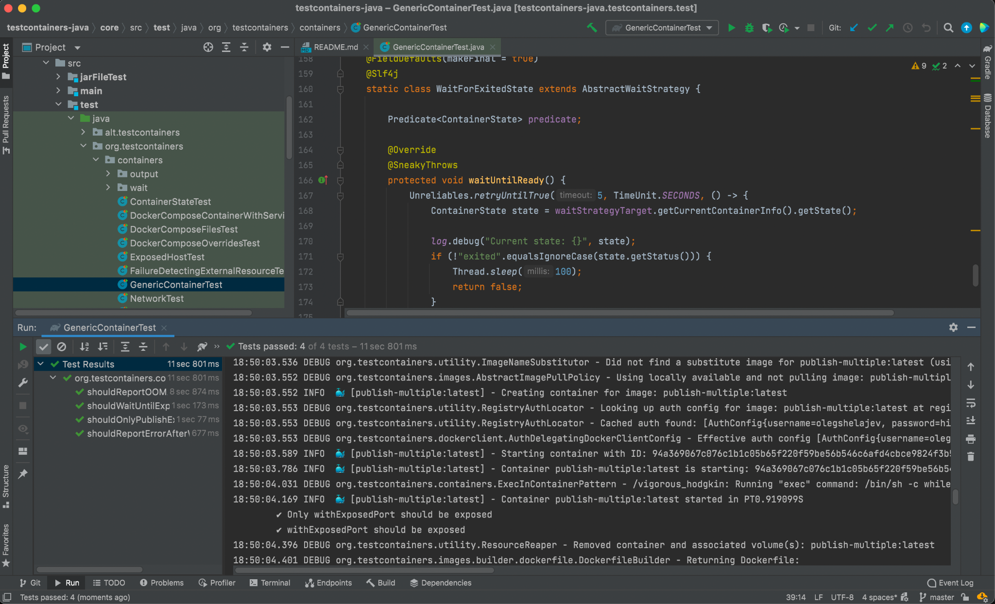 Integration tests from the Testcontainers-java suite are passing with Docker Desktop