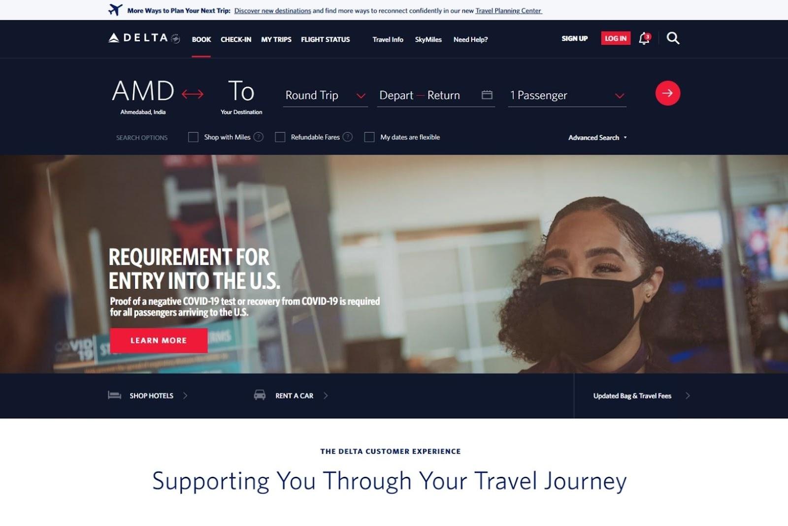 Delta web app built in angular