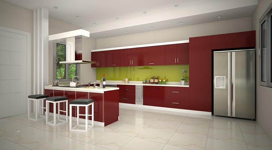 Thiết kế quầy bar cùng màu với tủ bếp để tạo sự thống nhất