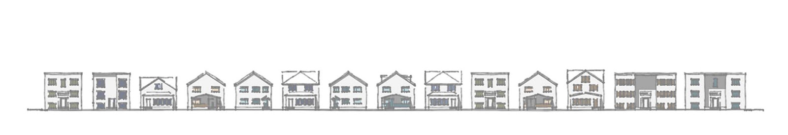Graphic with two- and three-story buildings, including multi-family homes