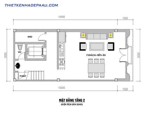 3 mẫu thiết kế nhà 50m2 có thang máy