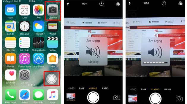 Tắt âm chụp ảnh iPhone dễ dàng bằng cách nhấn vào nút Home cảm ứng