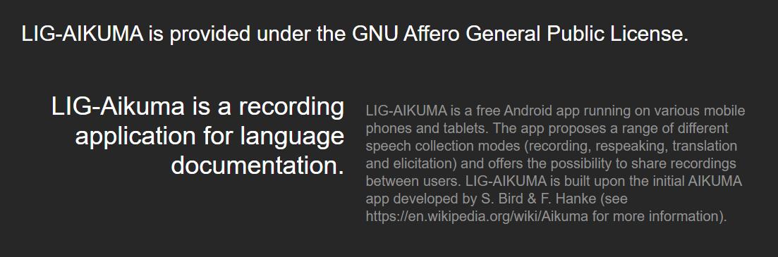 picture of text describing the LIG-AIKUMA application for language documentation