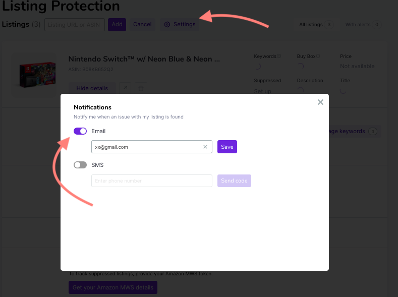 Listing protection alerts