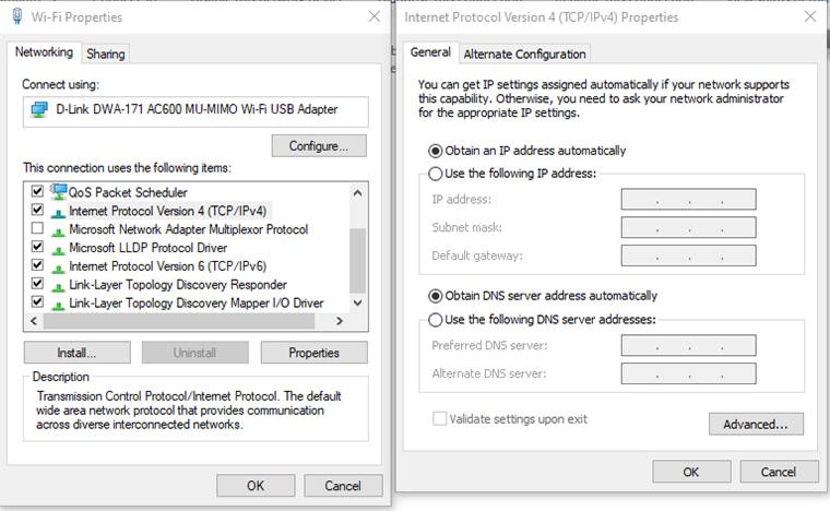 configurações de tcp/ipv4 do windows 10