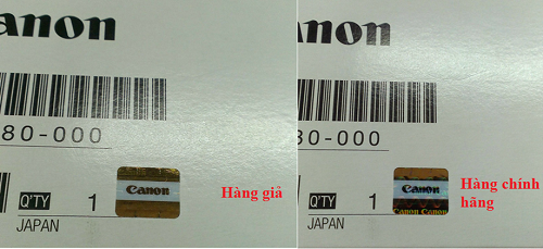 Tem chống hàng giả của hãng Canon sẽ thay đổi màu khi đổi góc nhìn.