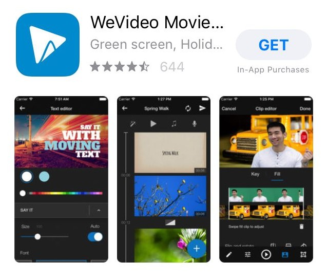 Phần mềm làm phim cho điện thoại WeVideo