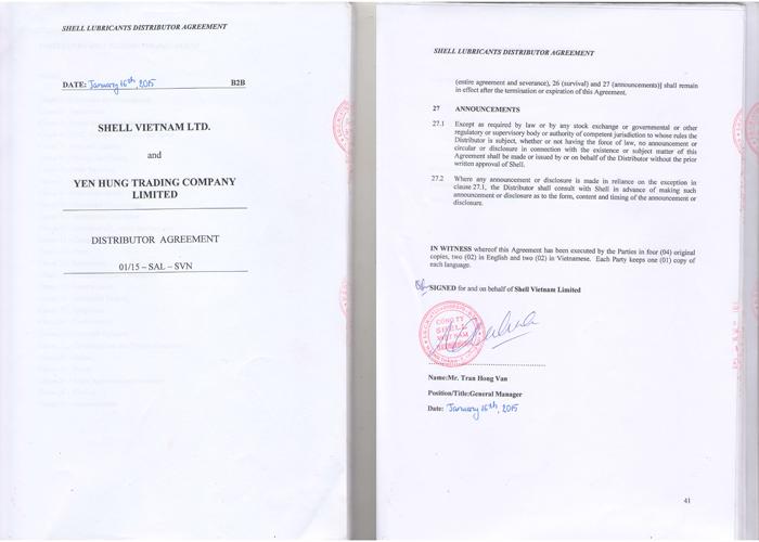 giấy phép hoạt động lĩnh vực dầu của Yên Hưng