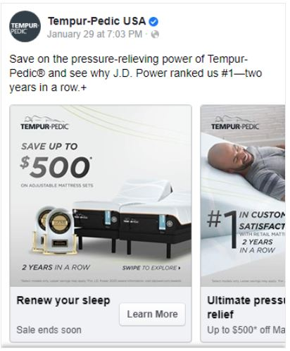Facebook ad fro Tempur